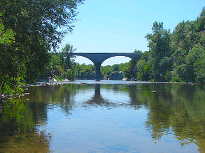 Chauzon Bridge, seen from the Ardèche river